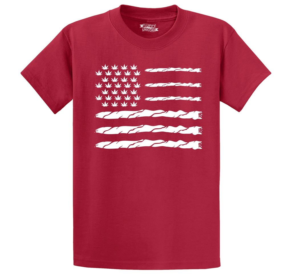 Weed Joint American Flag Men's Heavyweight Big & Tall Cotton Tee Shirt