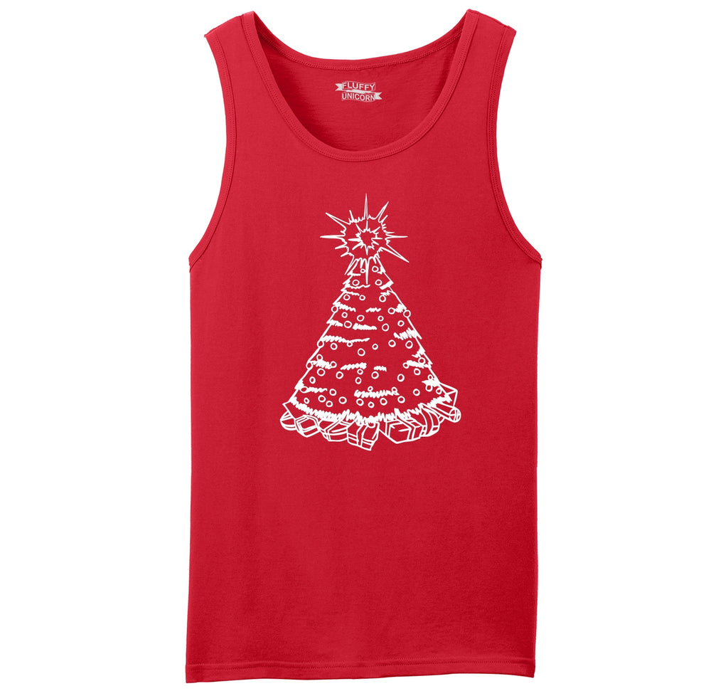 Christmas Tree Graphic Mens Sleeveless Tank Top