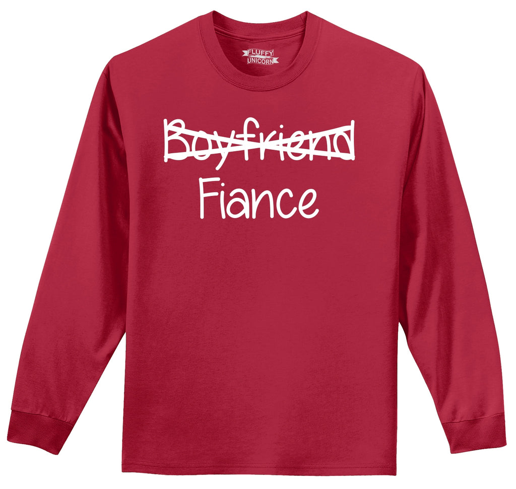 Boyfriend Crossed Out Fiance Mens Long Sleeve Tee Shirt
