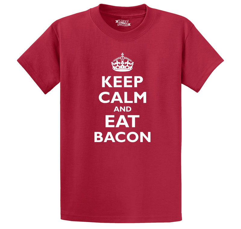 Keep Calm and Eat Bacon Men's Heavyweight Cotton Tee Shirt