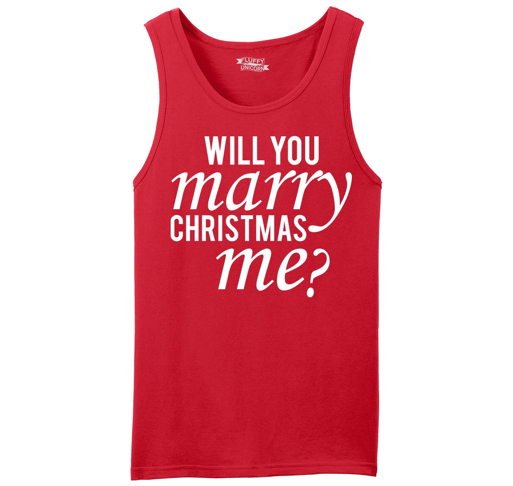 Will You Marry Christmas Me Mens Sleeveless Tank Top