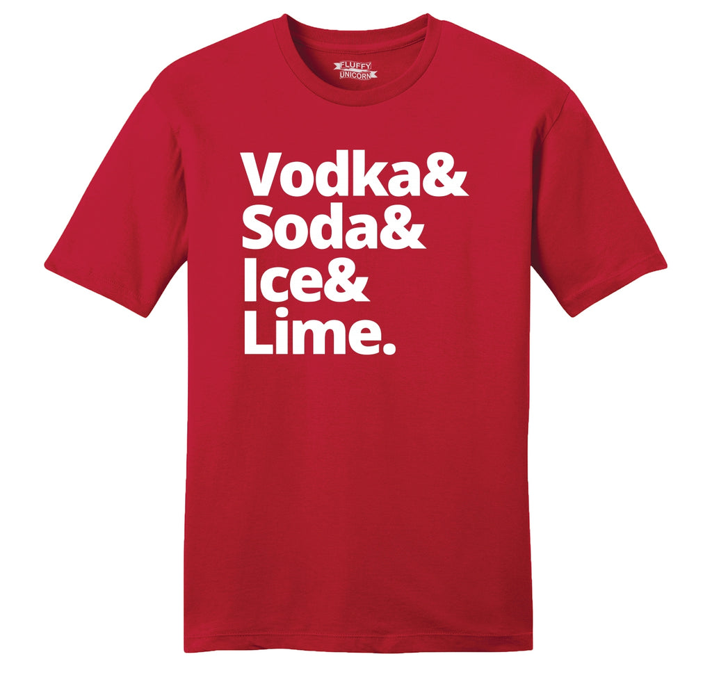 Vodka Soda Ice And Lime Mens Ringspun Cotton Tee Shirt