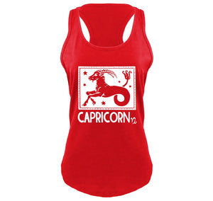 Capricorn Horoscope Ladies Gathered Racerback Tank Top