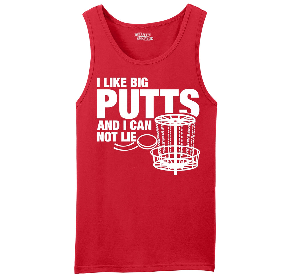 I Like Big Putts Funny Chain Frisbee Golf Graphic Tee Mens Sleeveless Tank Top