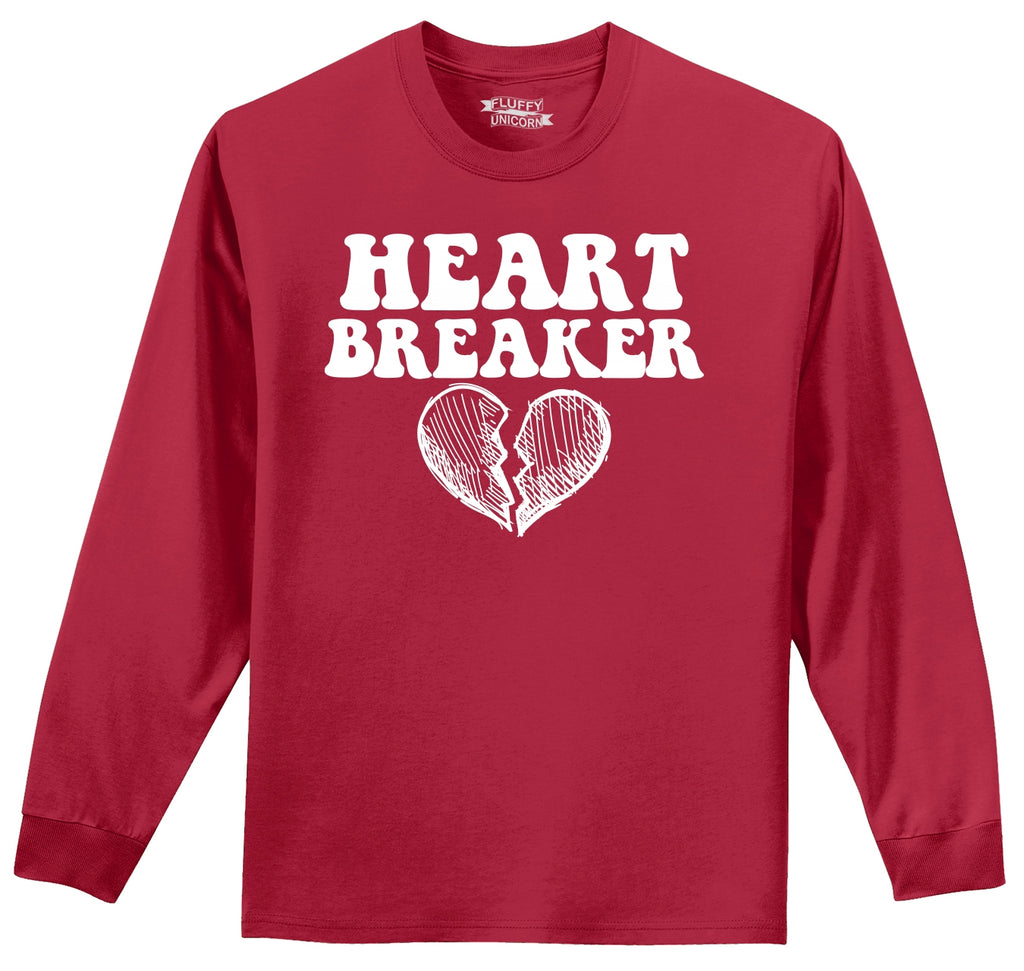 Heart Breaker Cute Valentines Day Gift Mens Long Sleeve Tee Shirt