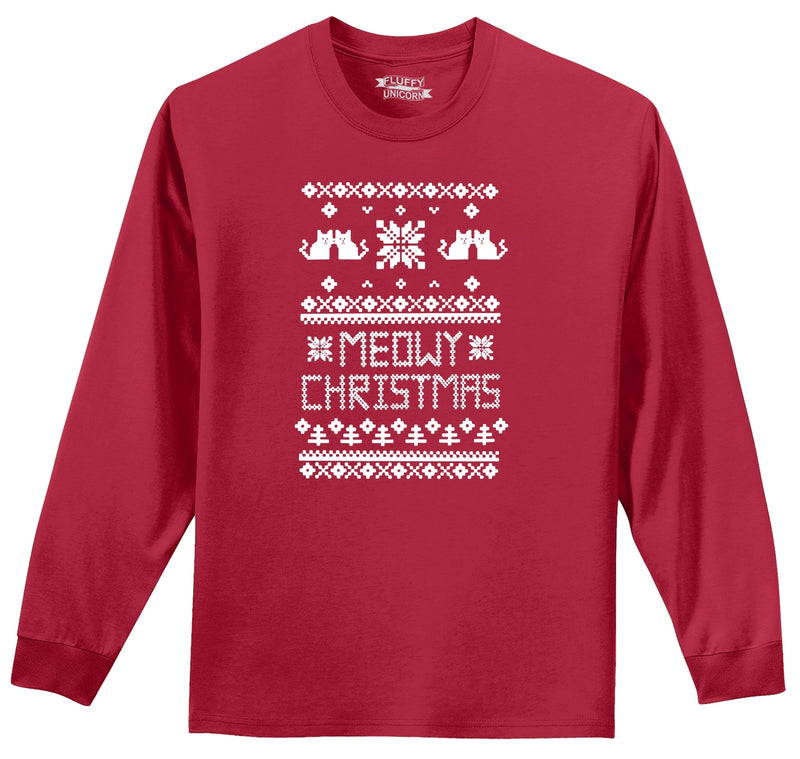 Meowy Christmas Mens Long Sleeve Tee Shirt