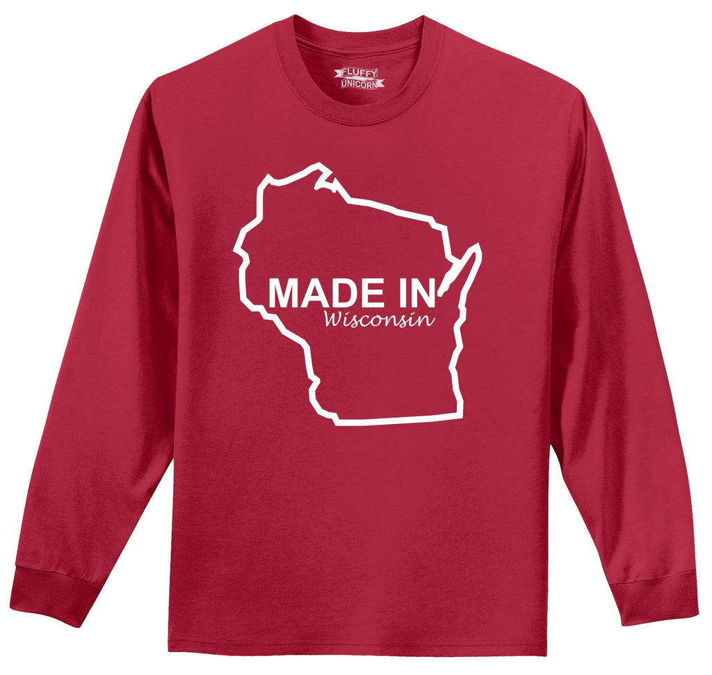 Made In Wisconsin Mens Long Sleeve Tee Shirt