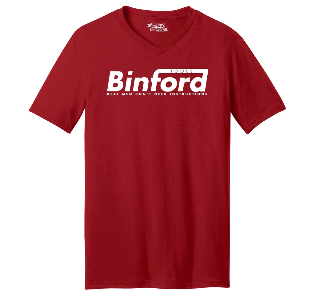 Binford Tools Don't Need Instructions Mens Short Sleeve Ringspun V Neck