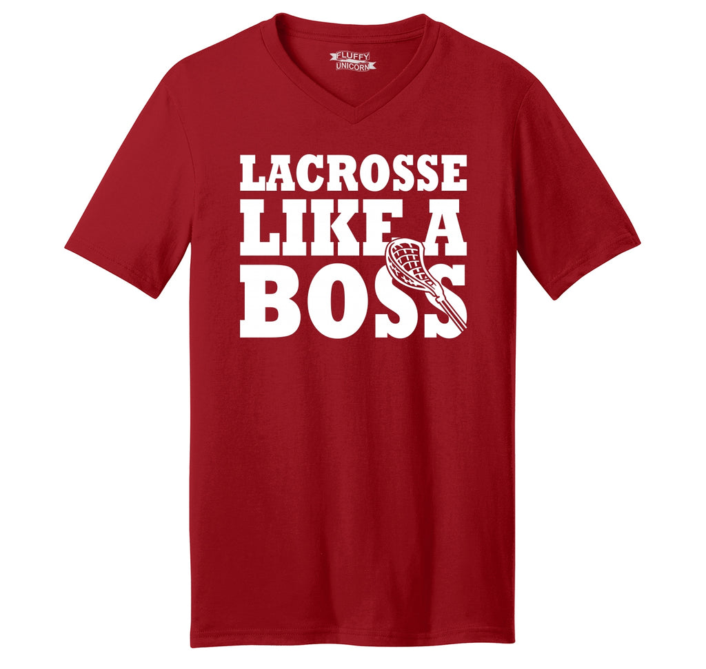 Lacrosse Like A Boss Mens Short Sleeve Ringspun V Neck