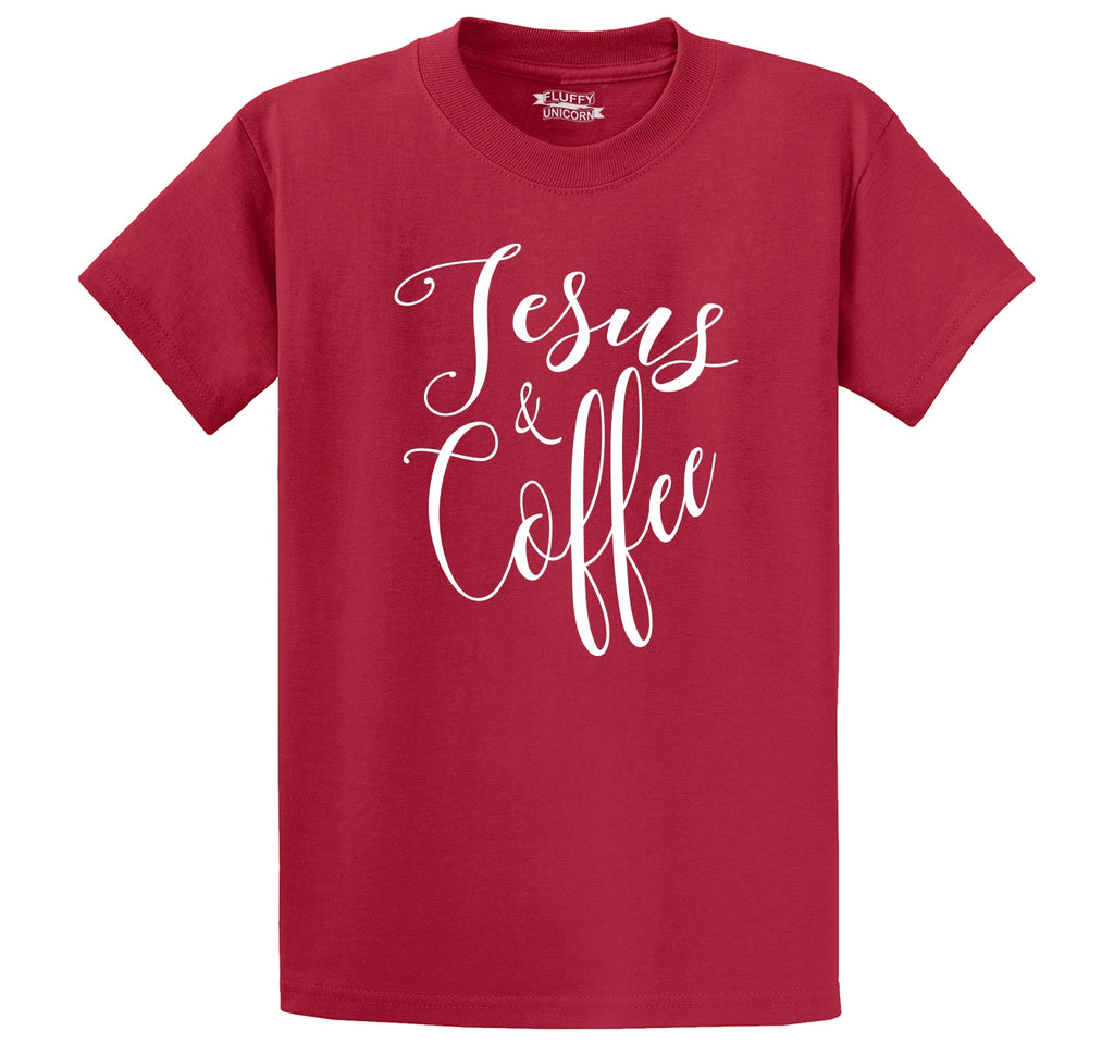 Coffee and Jesus Cute Religious Coffee Lover Tee Men's Heavyweight Cotton Tee Shirt