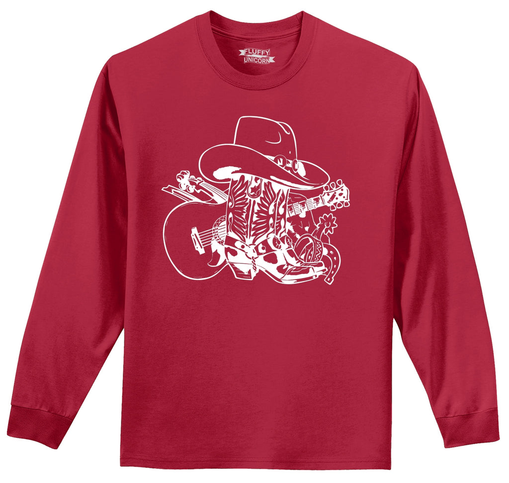 Cowboy Boots Cowboy Hat Guitar Country Music Graphic Mens Long Sleeve Tee Shirt