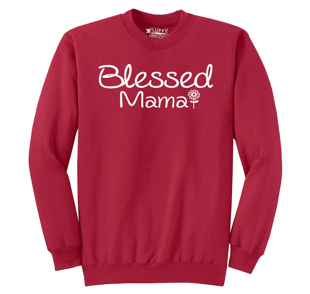 Blessed Mama Tee Cute Mother's Day New Baby Wife Gift Tee Crewneck Sweatshirt
