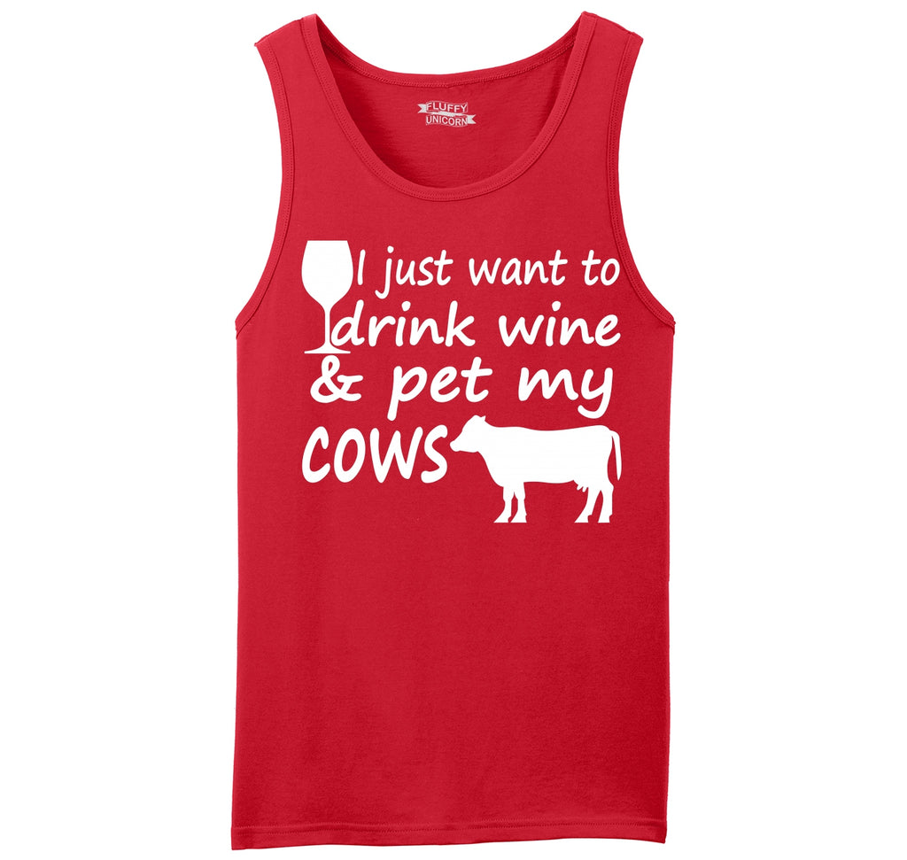 I Just Want To Drink Wine And Pet My Cows Cute Country Tee Mens Sleeveless Tank Top