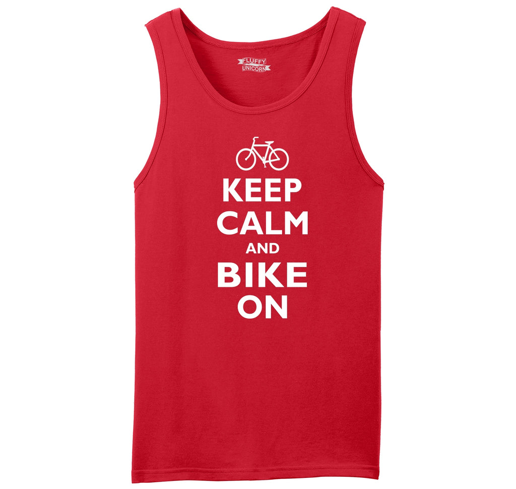 Keep Calm & Bike On Funny BicycleT Shirt Mens Sleeveless Tank Top