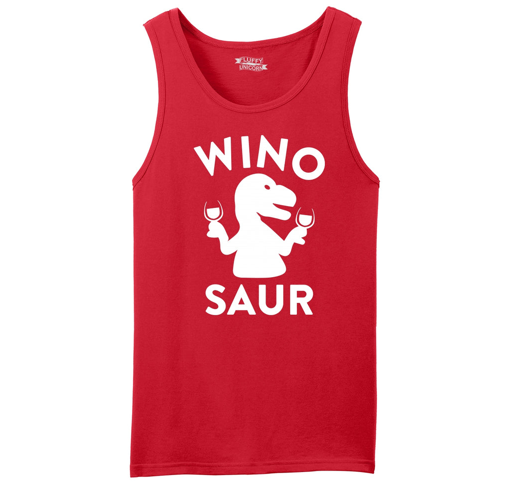 Winosaur Funny Wine Lover Shirt Mens Sleeveless Tank Top