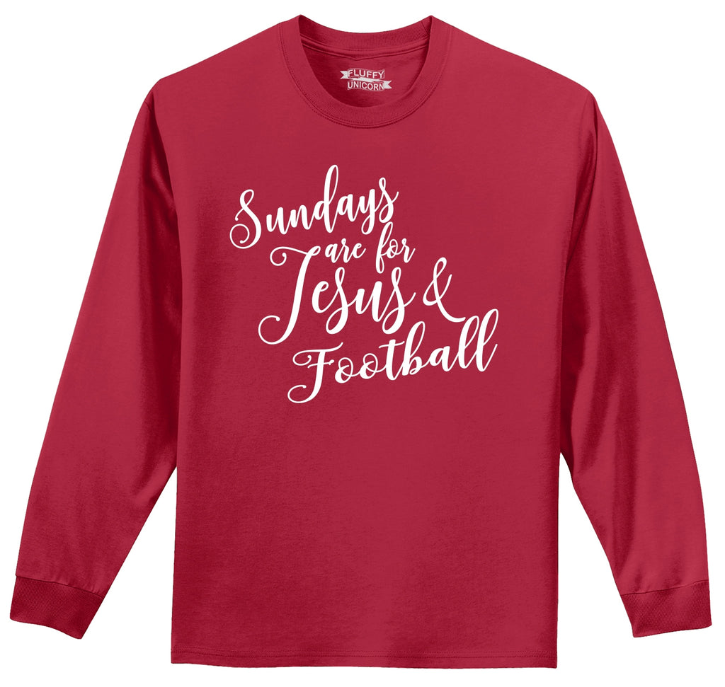 Sundays Are For Jesus & Football Mens Long Sleeve Tee Shirt