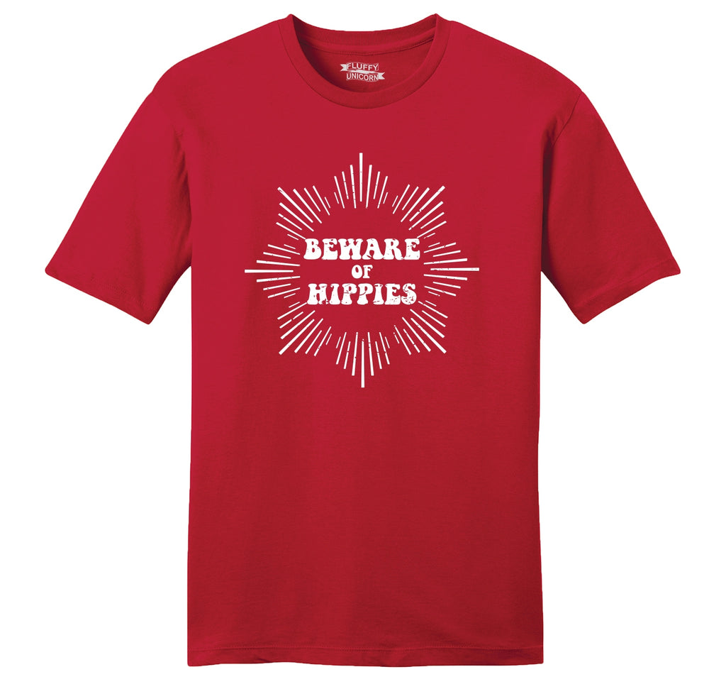 Beware Of Hippies Mens Ringspun Cotton Tee Shirt