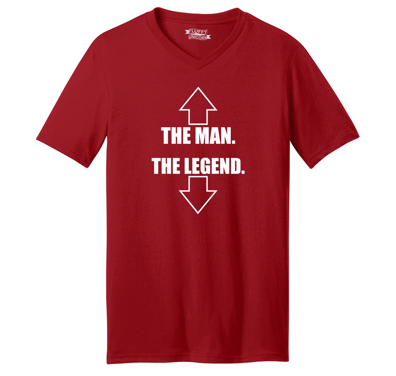 The Man The Legend Mens Short Sleeve Ringspun V Neck