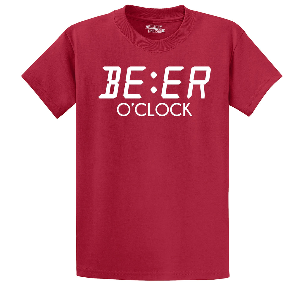 Beer O'Clock Funny Alcohol St Patty's Party Bar Tee Men's Heavyweight Big & Tall Cotton Tee Shirt