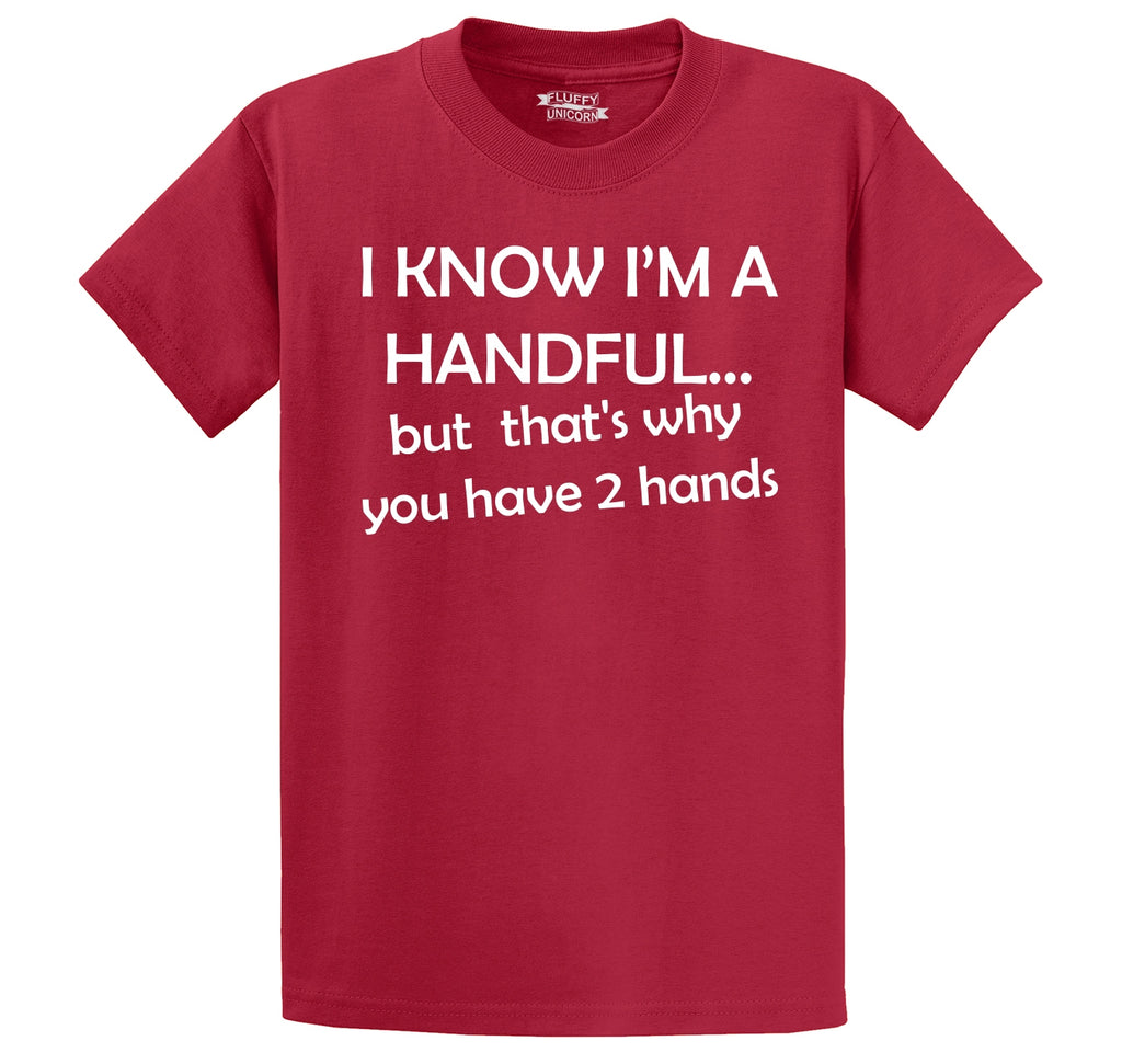 I Know I'm A Handful You Have 2 Hands Men's Heavyweight Cotton Tee Shirt