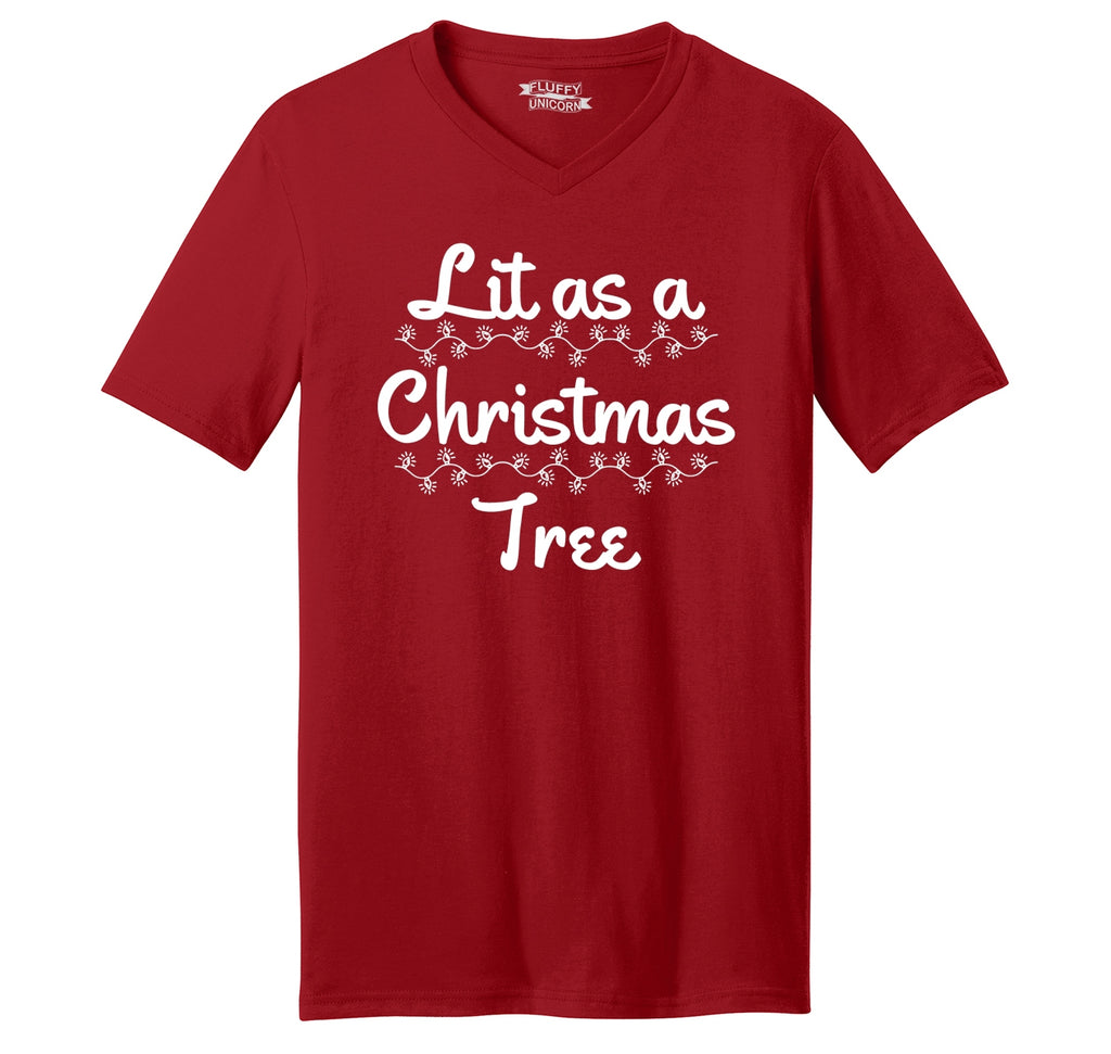 Lit As A Christmas Tree Mens Short Sleeve Ringspun V Neck