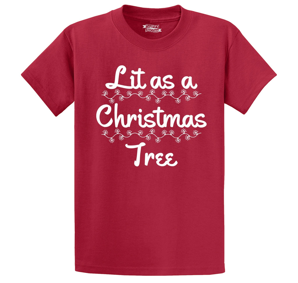 Lit As A Christmas Tree Men's Heavyweight Big & Tall Cotton Tee Shirt