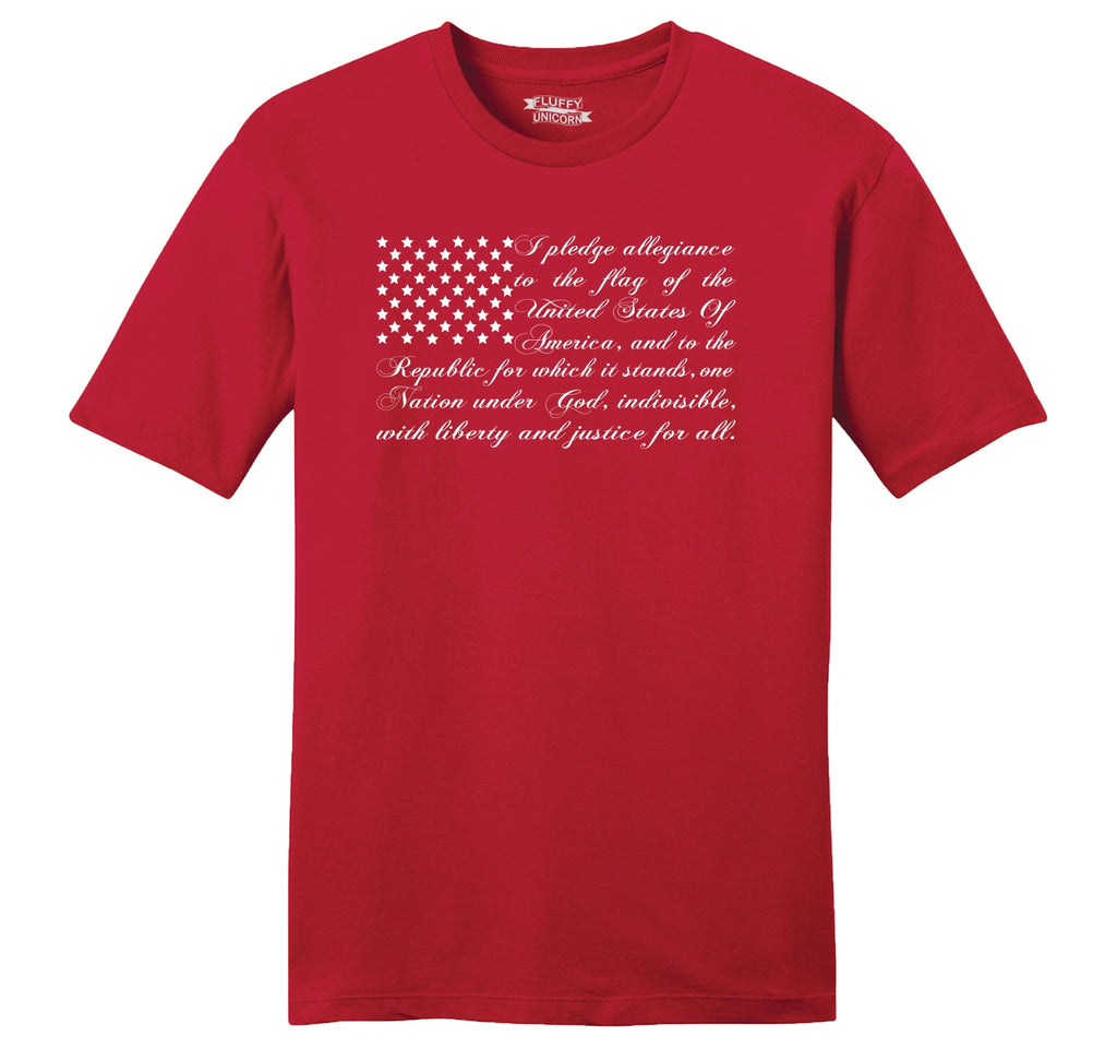 Pledge of Allegiance American Flag Mens Ringspun Cotton Tee Shirt