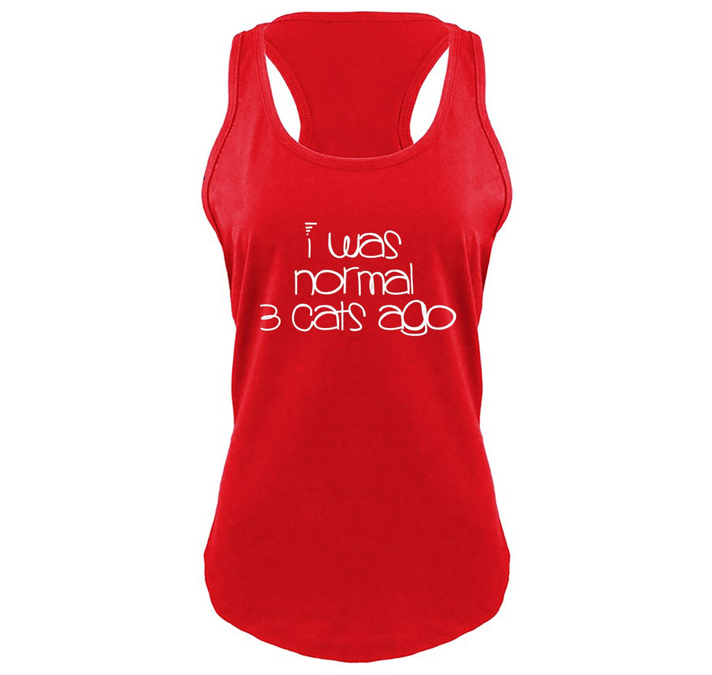 I Was Normal 3 Cats Ago Ladies Gathered Racerback Tank Top