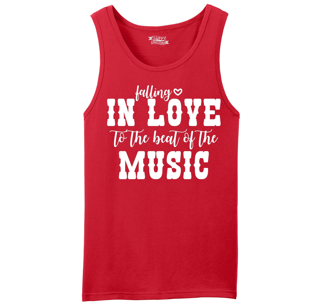 Falling In Love To The Beat Of The Music Mens Sleeveless Tank Top