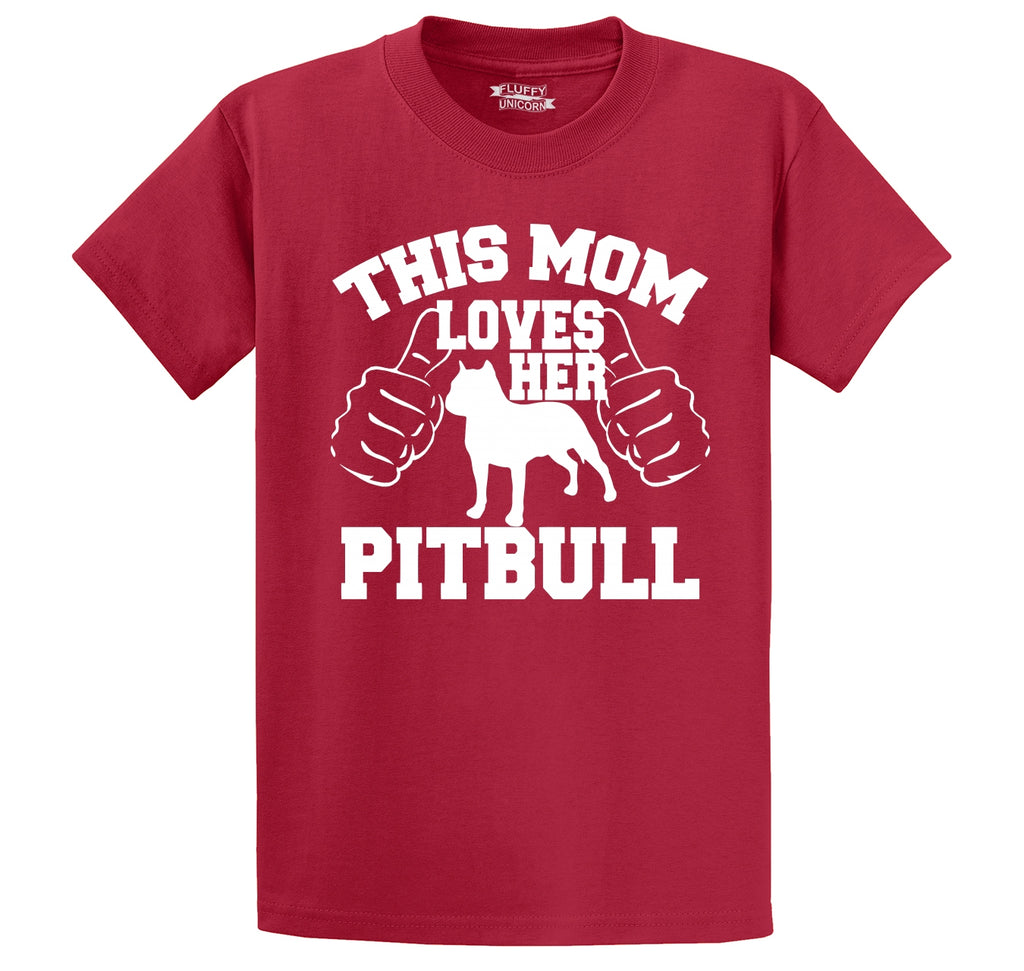This Mom Loves Her Pitbull Men's Heavyweight Big & Tall Cotton Tee Shirt