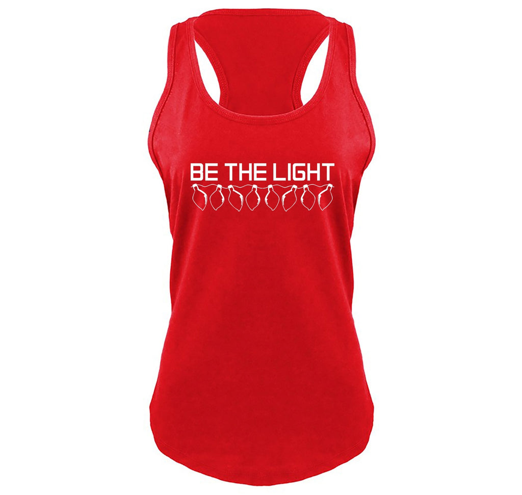 Be The Light Ladies Gathered Racerback Tank Top