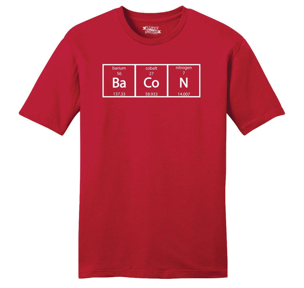 Bacon Periodic Table Mens Ringspun Cotton Tee Shirt