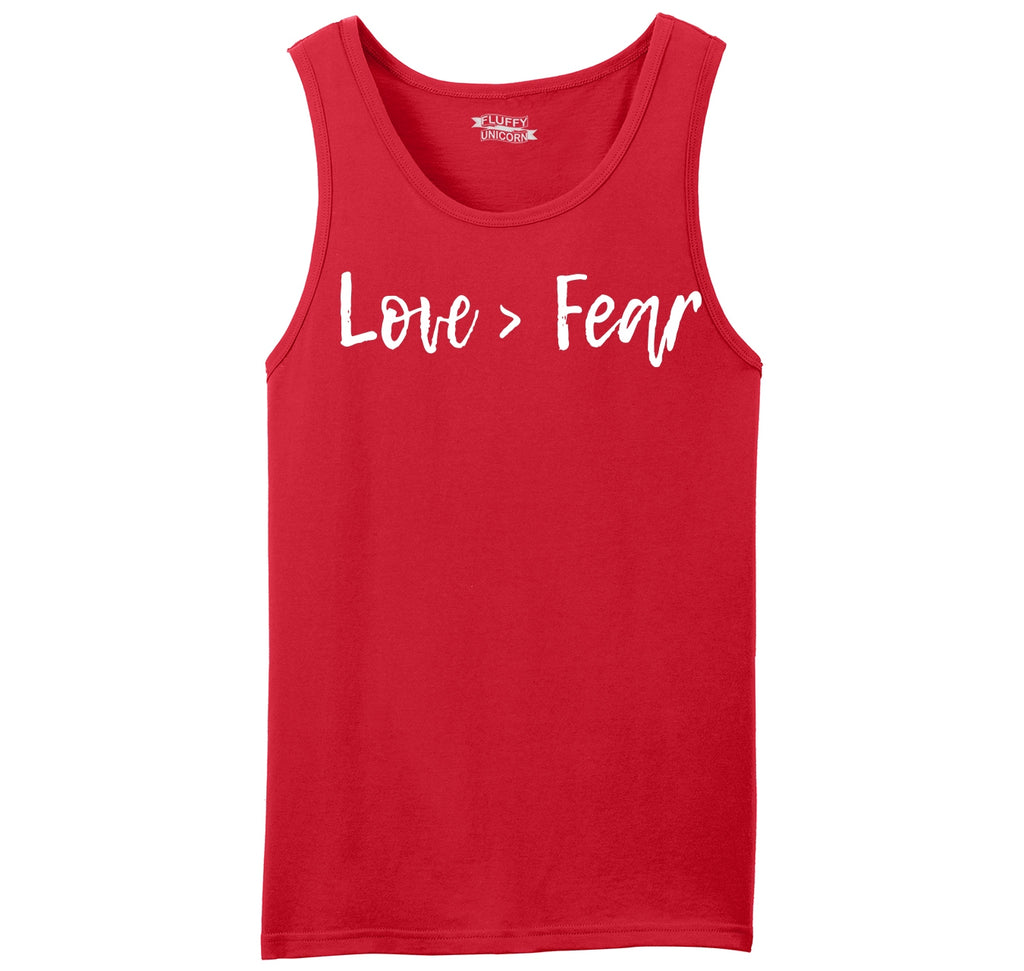 Love Is Greater Than Fear Mens Sleeveless Tank Top