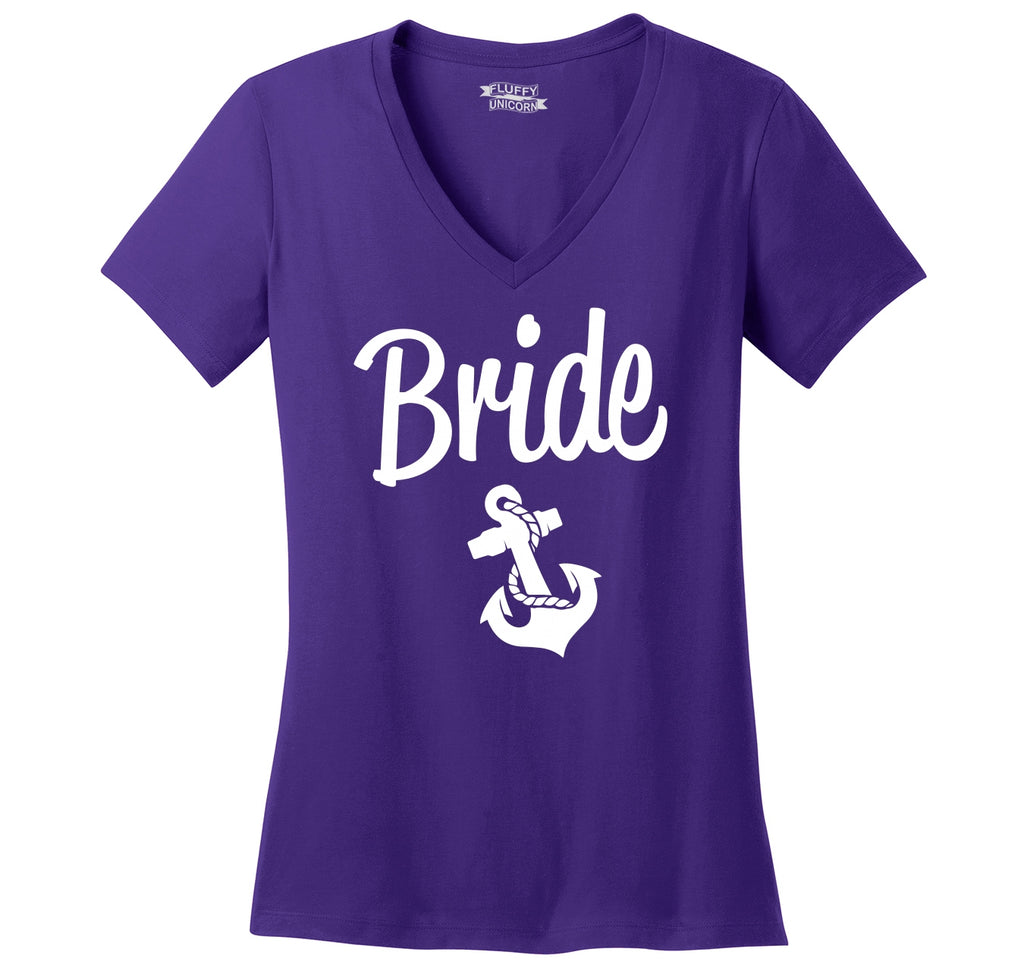 Bride Anchor Shirt Cute Wedding Gift Bachelorette Party Shirt Ladies Ringspun V-Neck Tee