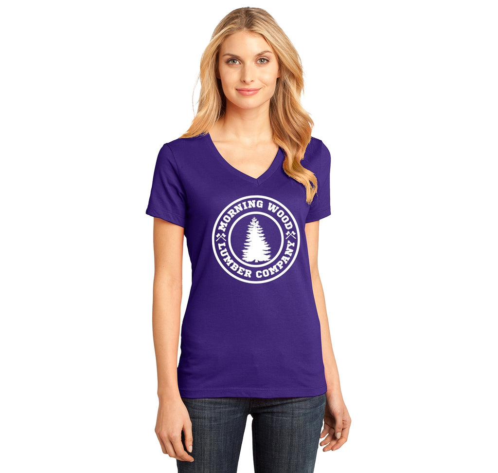 Morning Wood Lumber Company Ladies Ringspun V-Neck Tee