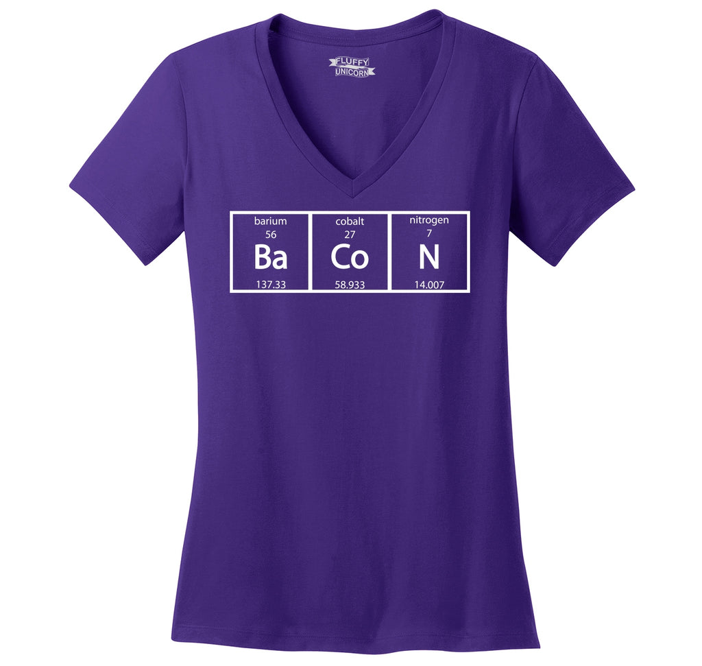Bacon Periodic Table Ladies Ringspun V-Neck Tee