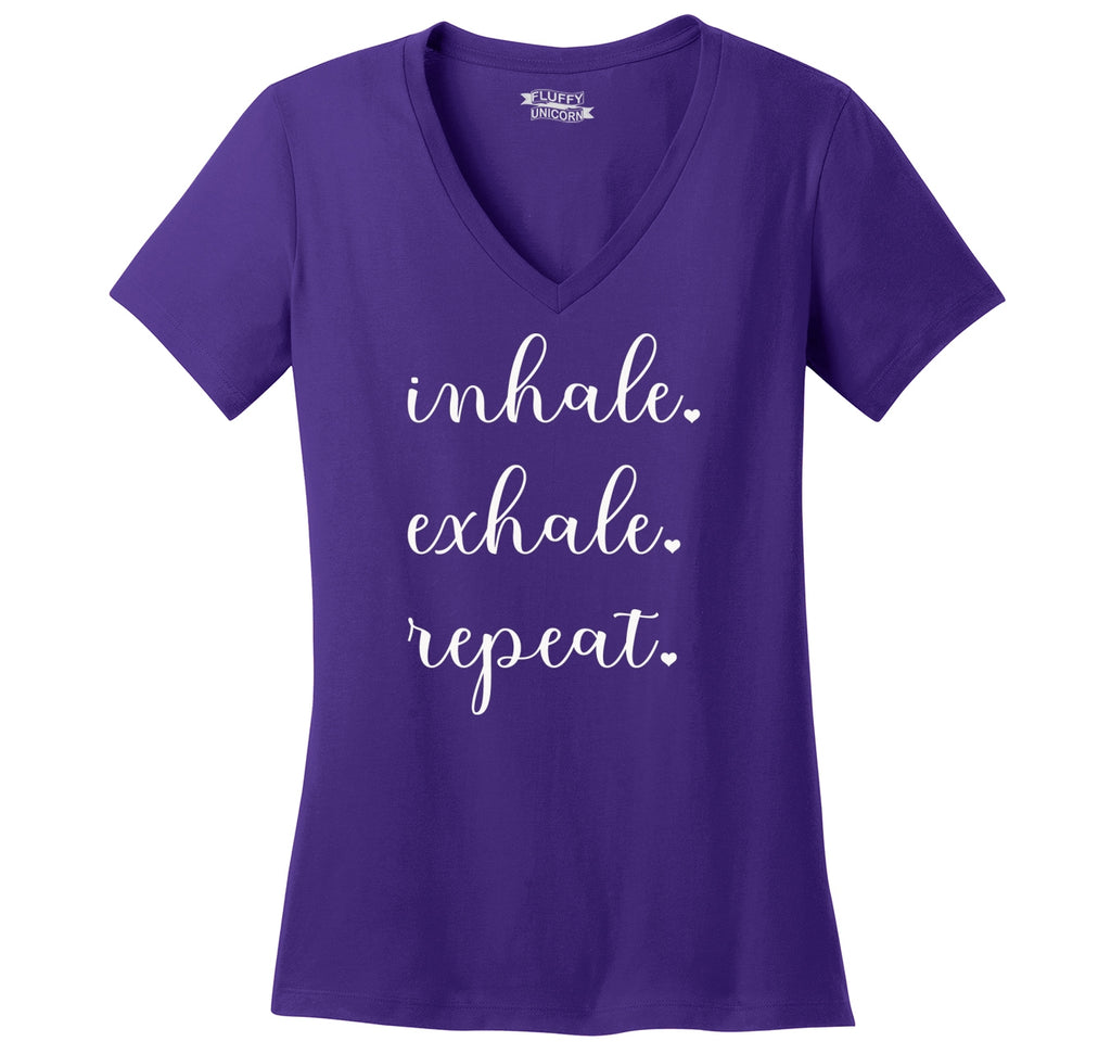 Inhale Exhale Repeat Ladies Ringspun V-Neck Tee