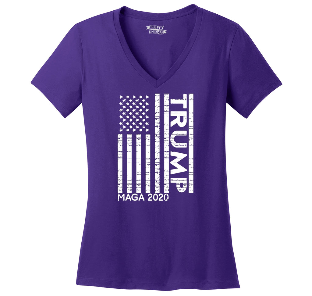 Trump American Flag MAGA 2020 Ladies Ringspun V-Neck Tee