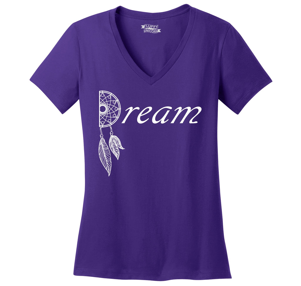 Dream Dream Catcher Graphic Tee Love Dream Valentines Day Gift Tee Ladies Ringspun V-Neck Tee