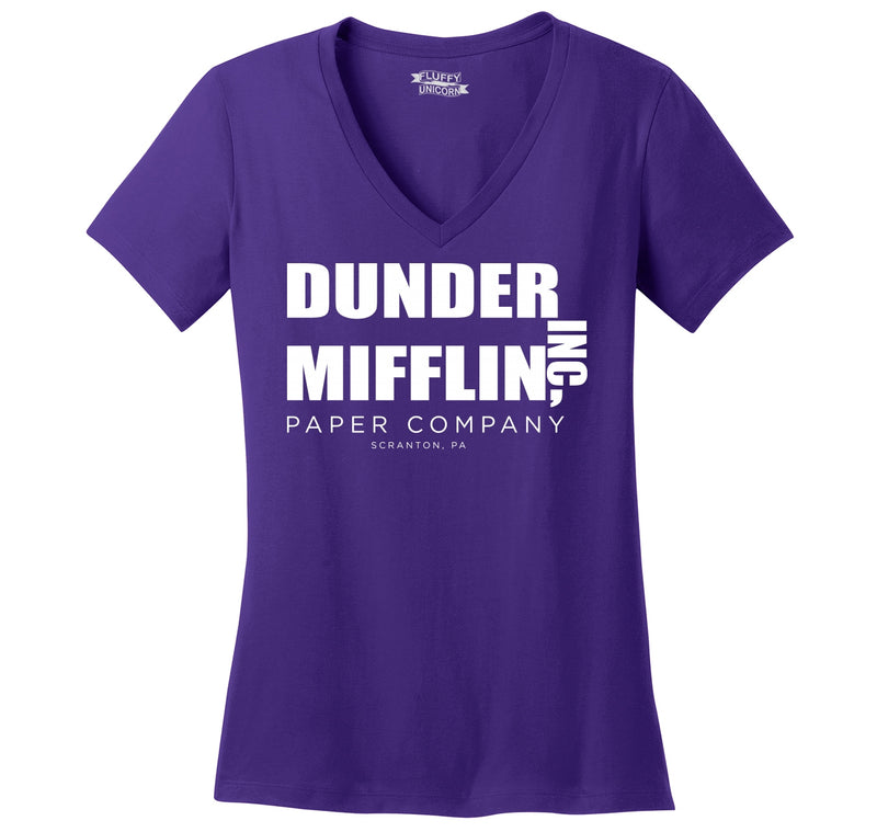Dunder Mifflin Paper Company Ladies Ringspun V-Neck Tee