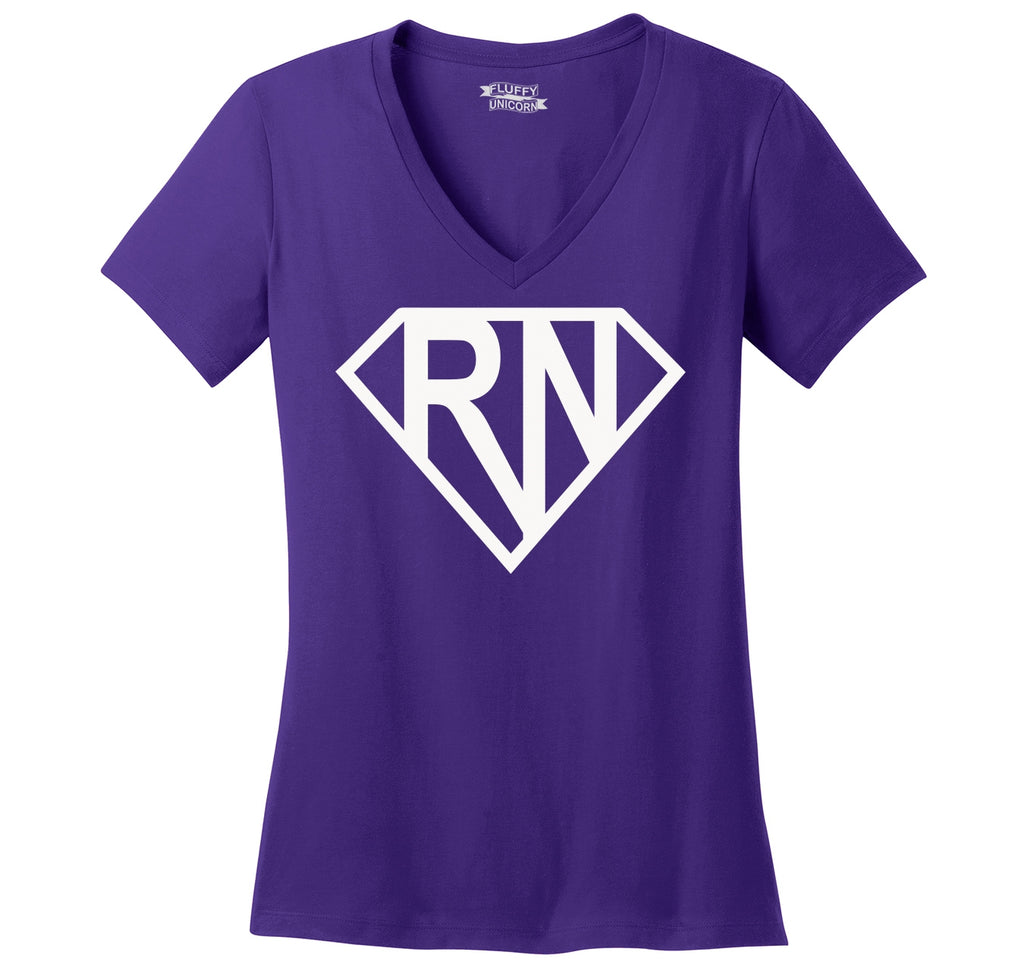 Super RN Super Nurse Tee Girlfriend Wife Mom Nurse Gift Tee Ladies Ringspun V-Neck Tee