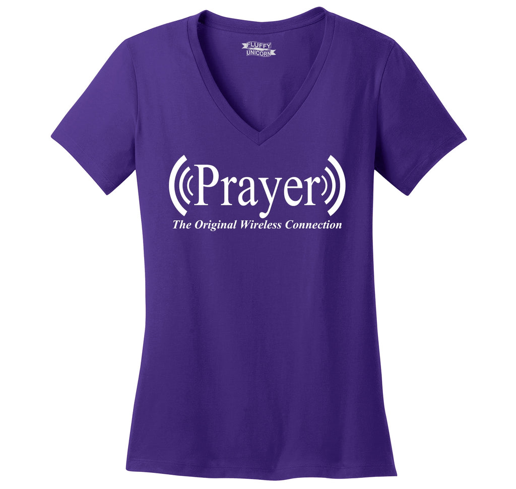 Prayer The Original Wireless Connection Ladies Ringspun V-Neck Tee
