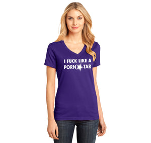 I Fuck Like A Pornstar Ladies Ringspun V-Neck Tee