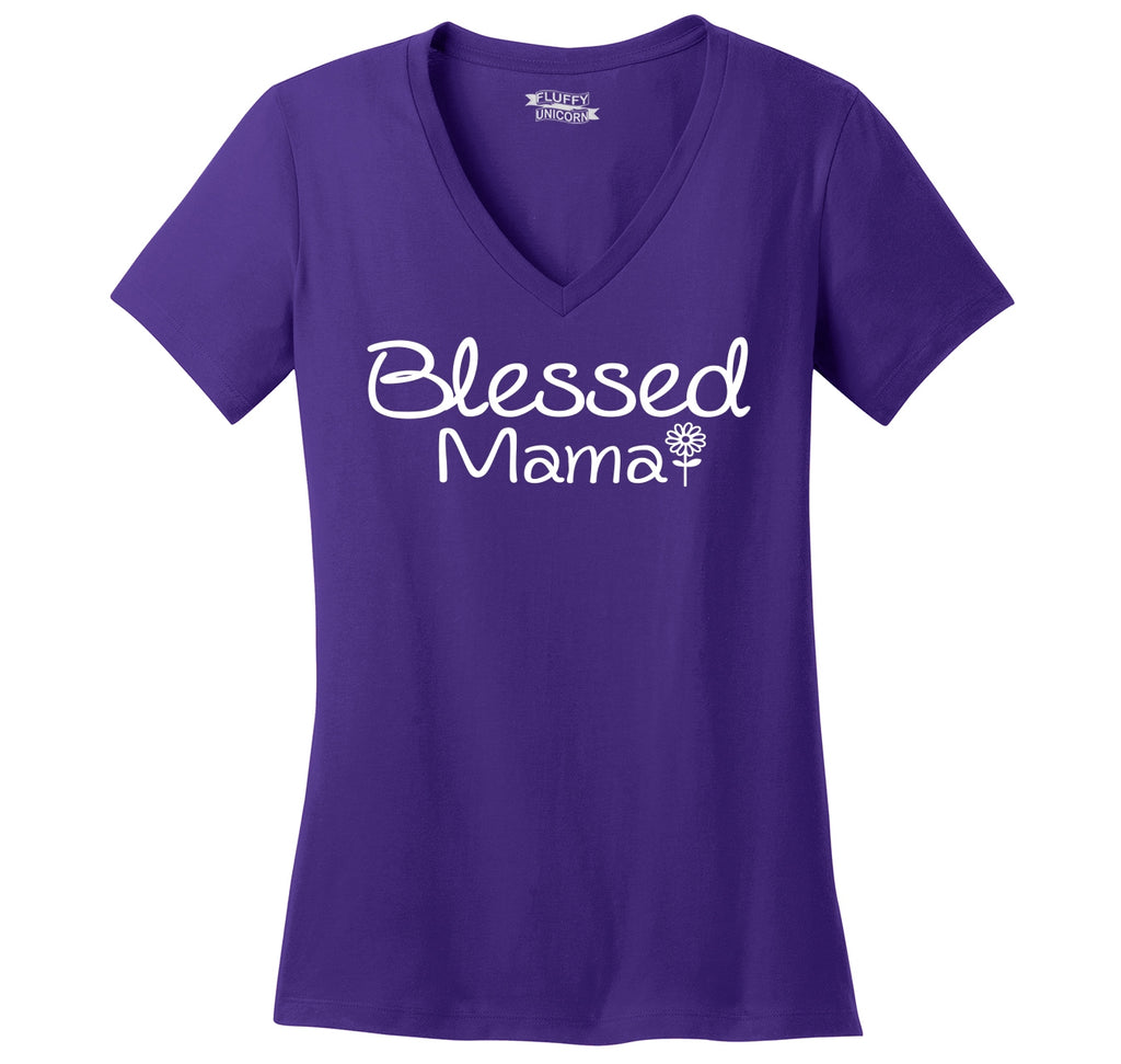 Blessed Mama Tee Cute Mother's Day New Baby Wife Gift Tee Ladies Ringspun V-Neck Tee