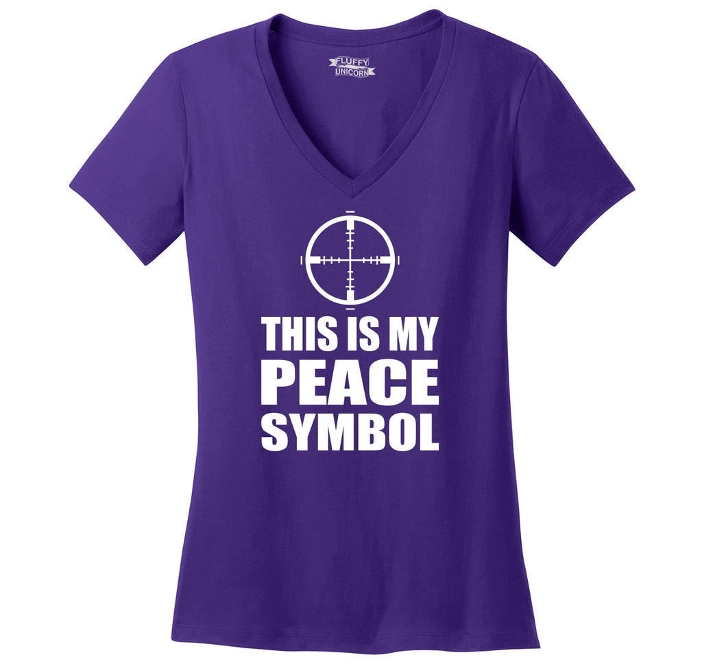 This Is My Peace Symbol Funny Gun Rights Shirt Ladies Ringspun V-Neck Tee