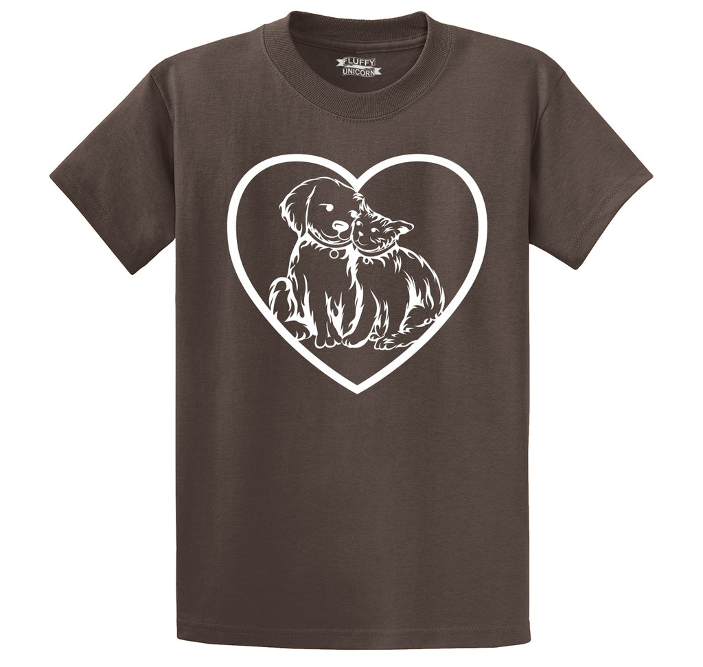 Dog Cat Heart Graphic Tee Animal Lover Vet Puppy Kitten Tee Men's Heavyweight Cotton Tee Shirt