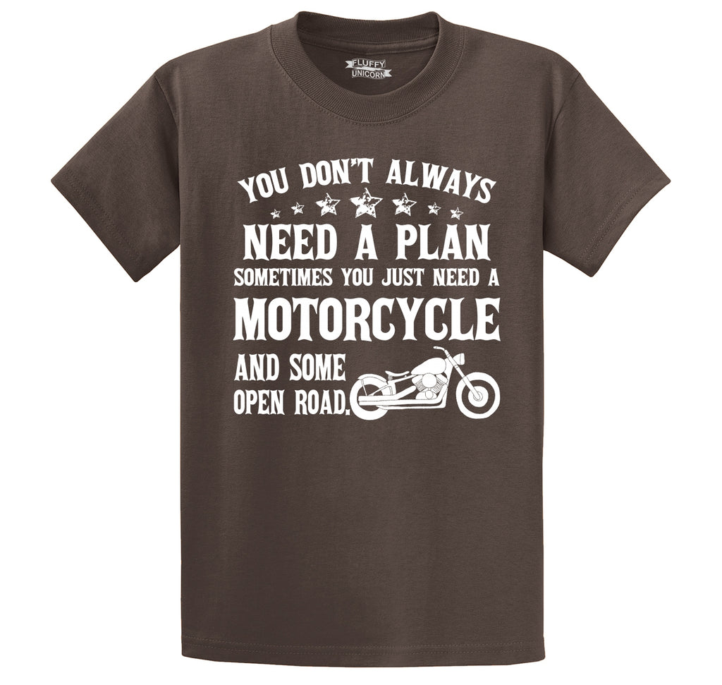 Don't Always Need A Plan Motorcycle Open Road Men's Heavyweight Cotton Tee Shirt