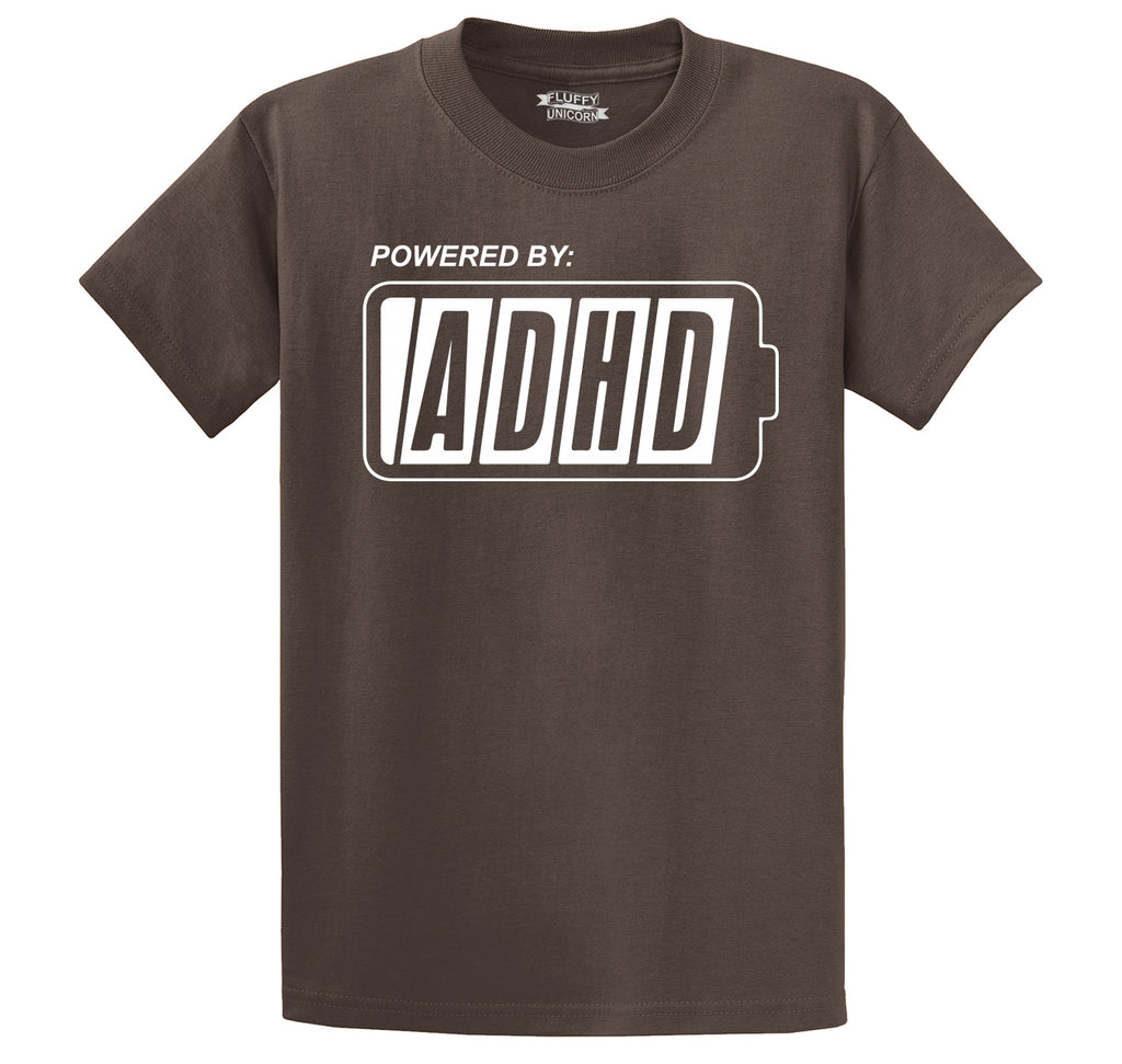 Powered By ADHD Funny ADD Shirt Men's Heavyweight Cotton Tee Shirt