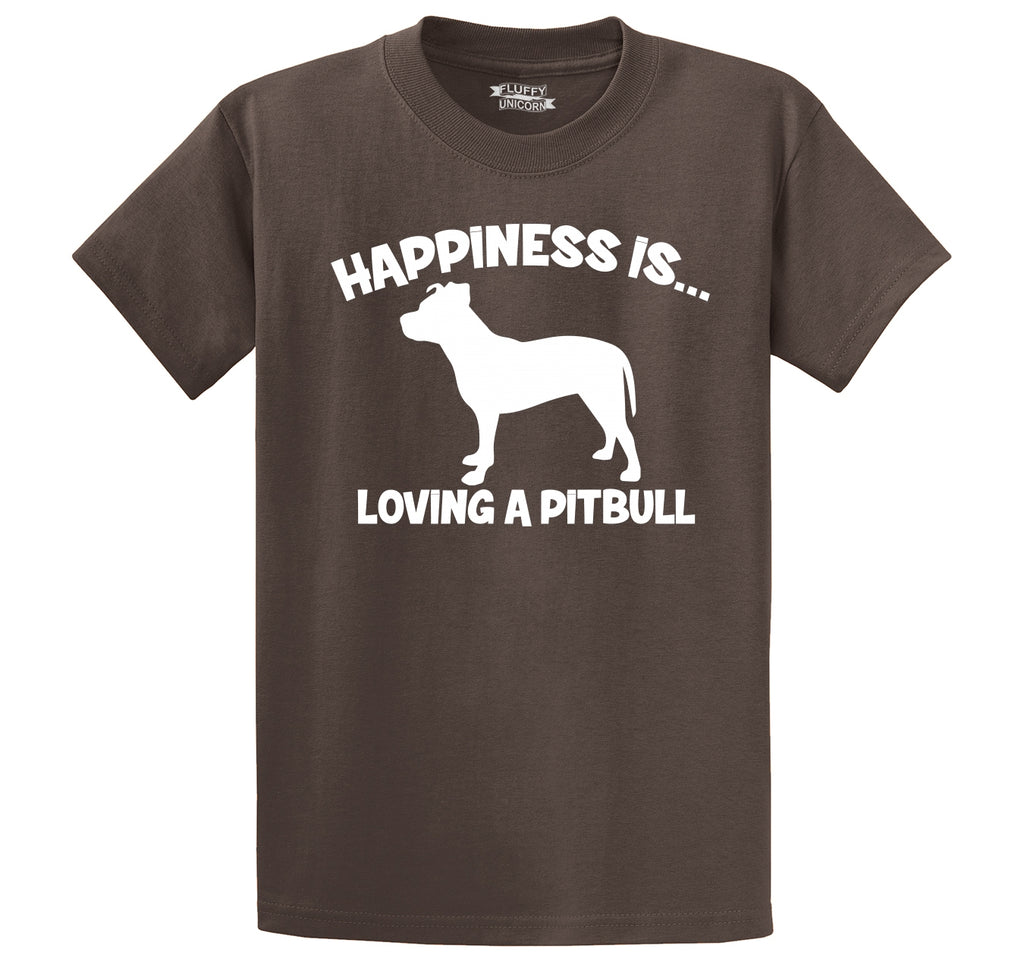 Happiness Is Loving A Pitbull Men's Heavyweight Cotton Tee Shirt