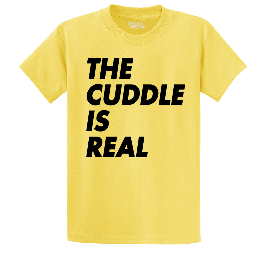 The Cuddle Is Real Funny Tee Valentines Day Gift Tee Men's Heavyweight Big & Tall Cotton Tee Shirt